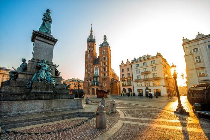 Náměstí s Mariackou bazilikou v Krakově